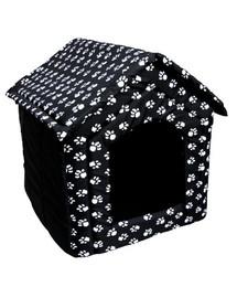 PETSBED Hundebett Hundehöhle Pfotenmotiv Schwarz 47 x 34 cm