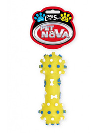 PET NOVA DOG LIFE STYLE Kauspielzeug Hantel 12cm gelb