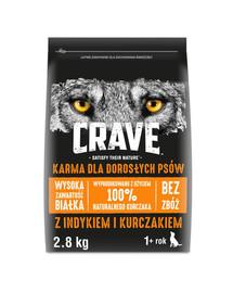 CRAVE Trockenfutter für ausgewachsene Hunde Adult mit Truthahn & Huhn 3 x 2,8kg