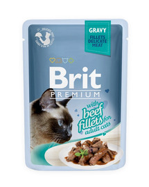 BRIT Premium Cat Pouch with Beef Fillets in Gravy for Adult Cats 85g