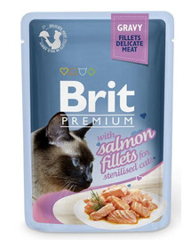 BRIT Premium Cat Pouch with Salmon Fillets in Gravy for Sterilised Cats 85g