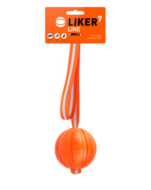 LIKER LINE Dog toy Hundeball mit Gurtband und Schlaufe 7 cm