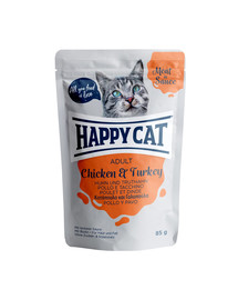 HAPPY CAT Meat in Sauce Adult Chicken & Turkey (Huhn & Truthahn) 85 g