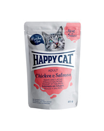 HAPPY CAT Meat in Sauce Adult Chicken & Salmon (Huhn & Lachs) 85 g