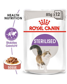 ROYAL CANIN STERILISED Nassfutter in Soße für kastrierte Katzen 12 x 85g