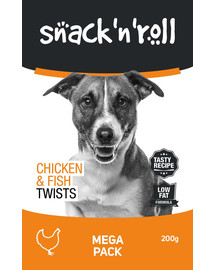 SNACK & ROLL Chicken and Fish Twists Sticks mit Huhn und Fisch 200 g