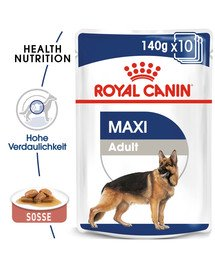 ROYAL CANIN MAXI ADULT Nassfutter für große Hunde in Soße 10 x 140 g