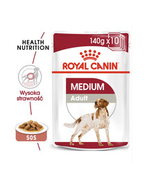 ROYAL CANIN MEDIUM ADULT Nassfutter für mittelgroße Hunde 10 x 140 g